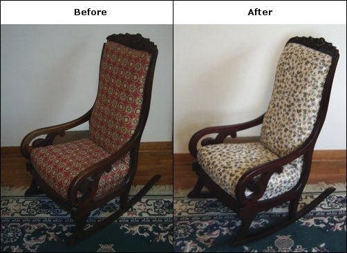 Below Is An Antique Rocking Chair We Refinished And Reupholstered. We Had  To Replace A Piece Of The Carving On The Top.